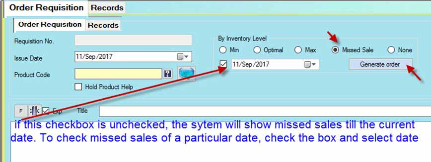 Preparing order against missed sales in Candela RMS